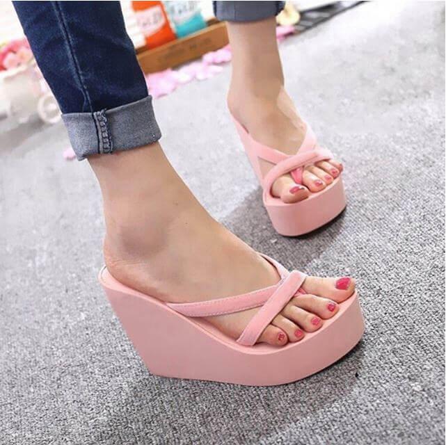 e4420bcd7b22 Platform Sandals Women High Heel Summer Shoes Fashion Straped Slippers Beach  Flip Flops Solid Slides Women