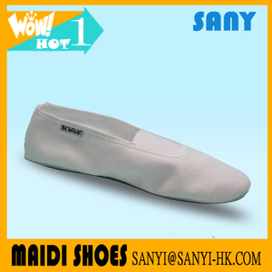 Newest Simple Soft White Cotton Fabric Soft Ballet Dance Shoe from China For Women