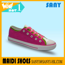 Hottest Female/ Woman/ Girl Vulcanized Rubber Sole Walking Canvas Shoes with OEM&ODM Service Available from Chinese Market