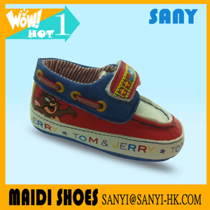 Stylish Cartoon Tom Red and Blue Soft Touch Velvet Prewalker Shoes