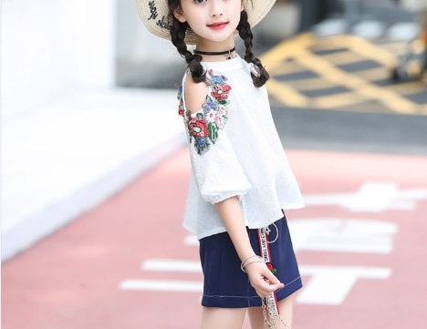 2018 grils new off-shoulder short tops+A-line skirt Korean trend children's suit Summer refreshing skirt suit