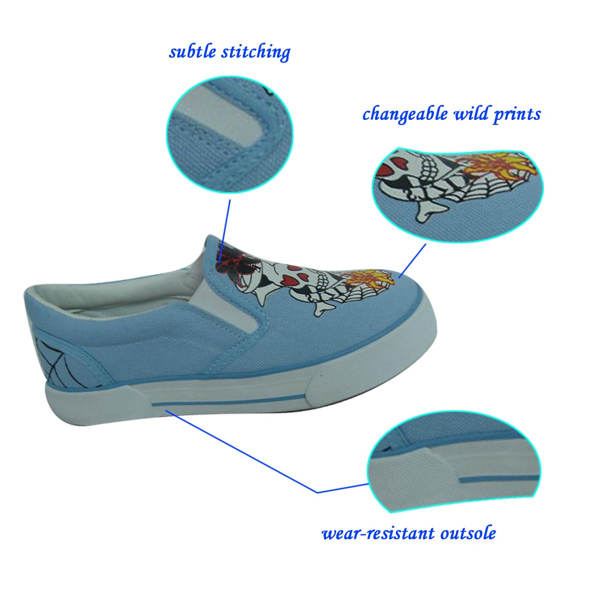 2018 Fashionable Printed Blue Unisex Slip-on Casual Kid Vulcanized Shoe from China Jinjiang with high quality and low price