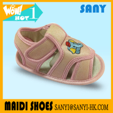 Latest Cute Pink Cartoon Canvas TPR Outsole Infant Sandal Shoes