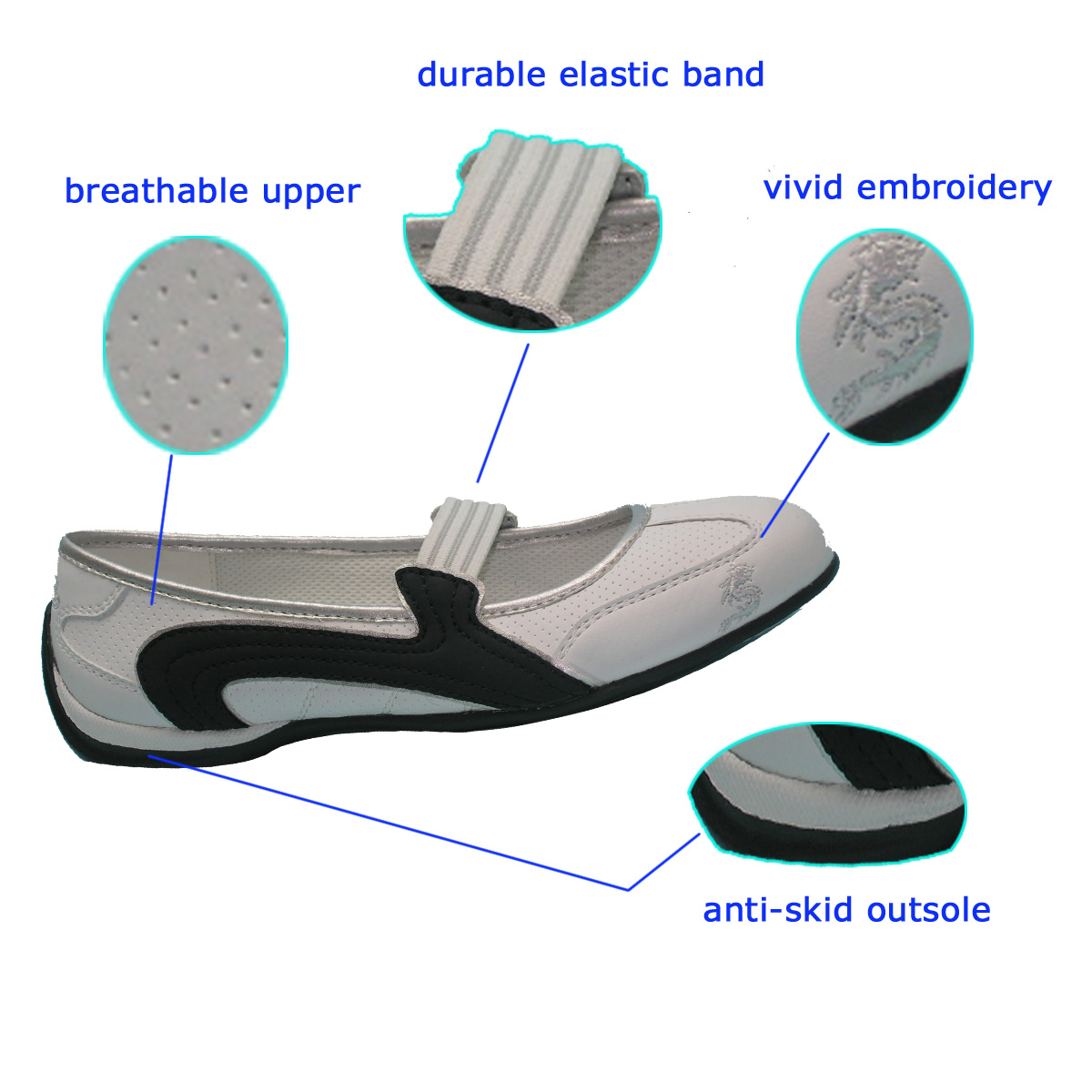 Hot Selling Ladies Breathable White PU Leisure Dance Shoes