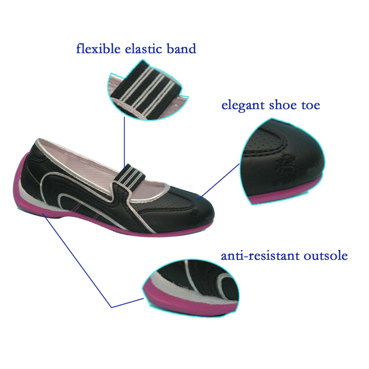 Custom Woman's Cheap Beautiful Cool Black Dance Shoes with Bright Color TPR Outsole Exported from Chinese Factory