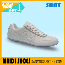 Jinjiang Stylish Prince Pure White Casual Shoes with Smart Embroided Flower Pattern and Durable Rubber Outsole for Ladies