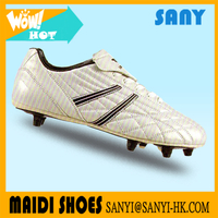 Stylish Men's White Mirror PU Football Shoes with Soft PU Lining and Professional Outsole