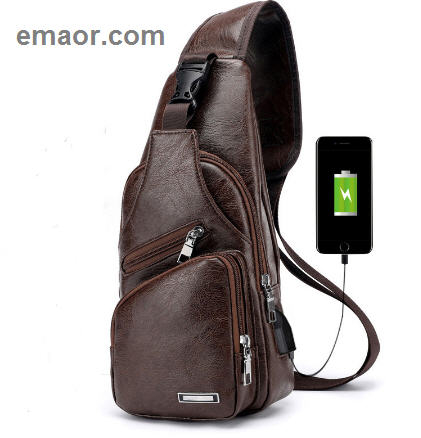 Men's Crossbody Bags Men's USB Chest Bag Designer Messenger Bags Leather Shoulder Bags Diagonal Package 2019 New Back Pack Travel
