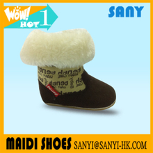 China Brand Name Warm Winter Fur And Wool Softsole Baby Boots