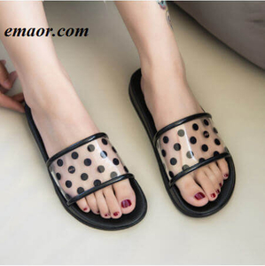 Women Slippers Summer Polka Dots Transparent Peep Toe Clear Beach Women Outdoor Flat Flip Flops
