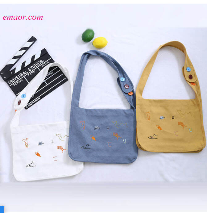 Animal Single-shoulder Canvas Bags for Ladies Versatile Cross Handbag Casual Lady Shopping Bags