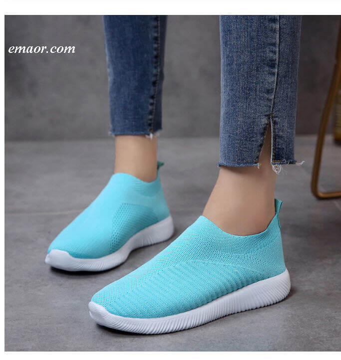 Shoes for People with Flat Feet Rimocy Breathable Air Mesh Flat Heels Sneakers Women's Casual Slip on Stretch Knitted Sock Platform Shoes Woman's Flats Shoes for People with Flat Feet