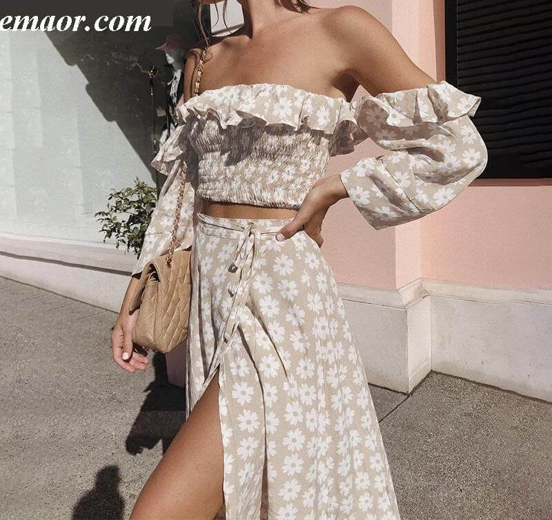 Two Piece Outfits Shoulder White Set Crop Top And Skirt Set High Waisted Skirt Set Off The Shoulder Dresses Summer Wedding Guest Bridesmaid Dresses