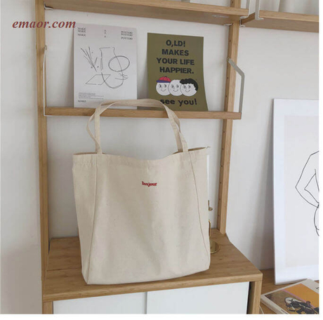 Canvas Tote Bags Foldable Grocery Bags Embroidery Canvas Large Capacity Bags