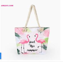 Hot Sale Handbag Ladies Flamingo Printed Casual Bag Women's Canvas Beach Bags