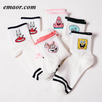 Women Short Socks Fashion Cartoon Character Cute Harajuku Patterend Hipster Skatebord Funny Female Ankle Socks