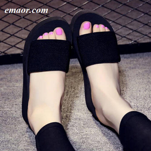 Woman Slippers Summer Platform Bath Wedge Beach High Heels For Women Brand Black EVA Ladies Flip Flops