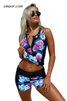 Elegant Floral Zip Front Sporty 2pcs Tankini Swimsuit Sports Illustrated Swim Swimsuit Cover Uplong Sleeve Swimsuit