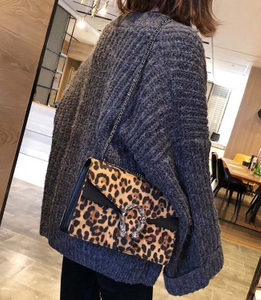 Womens Metallic Leopard Fashion Clutches Evening Bag Handbags Designer Crossbody Bags for Women