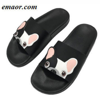 Women Bulldog Slippers Summer Cartoon Funny Flat Comfortable Non-slip Beach Bathroom Floor Home Slippers