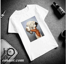 New Design Your Own Shirt Tops White T Shirt Funny for Womens Cotton Short Sleeve Plus Size Hoodie Cotton Casual Couple T Shirt Flowers for Girls