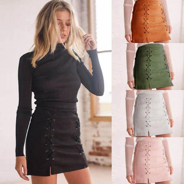 Women Skirt Leather Suede Pencil Black Mini Skirt