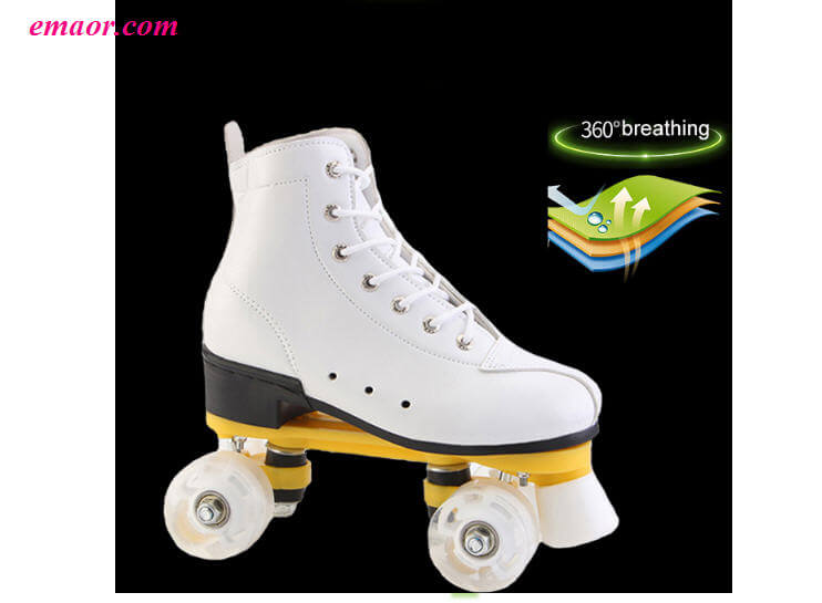Cheap Skate Shoes White Black Double Row Skates Adult Four-wheeled Roller Skates Shoes