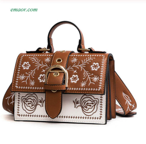Bag Sale Fashion Women's Bags Panelled Vintage Flower Girls Bags for Girls Black PU Leather Women's Messenger Bags Shoulder Bags