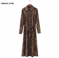 Women Dresses Fashion Leopard Print Ankle Length Dress Sexy Bow Tie Sashes Long Sleeve Retro Ladies Casual Chic Dresses Vestidos
