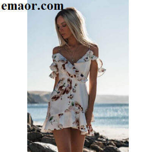 Dresses Sleeveless V-Neck White Beach Tank Mini Casual Women Party Sundress Floral Ruffle Chiffon Dresses