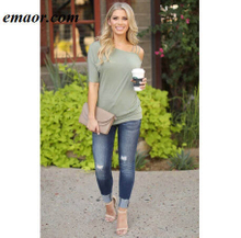 Women T-Shirts Loose Casual Short Sleeves Dew Shoulder Off Sexy Cotton Summer New Solid Tops Fashion Clothings for Girls