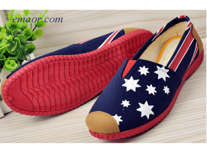 Flag Shoes for Sale Pop Sale Beijing Printed Cloth Lazy Spring Summer Shoes Red And Blue Flag Women's Canvas Flat Shoes Colin Kaepernick