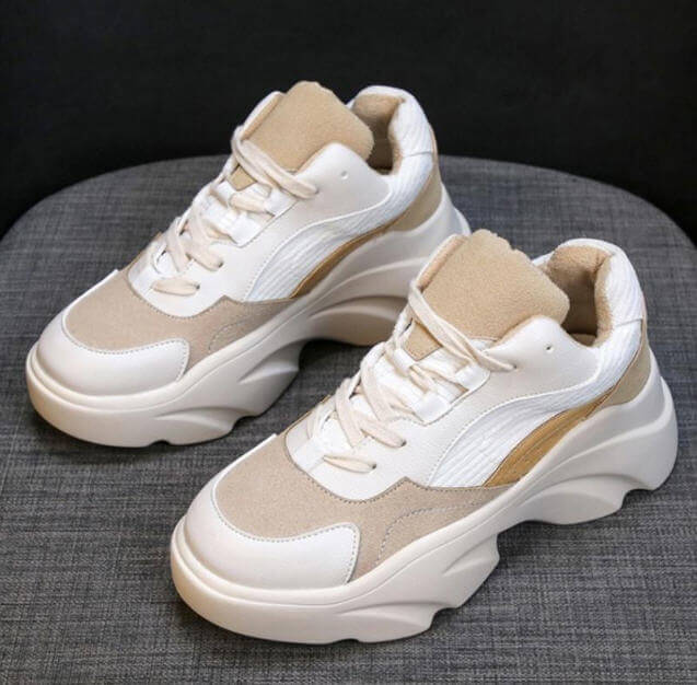 Women Sneakers New 2019 Cool Casual Mixed Color Lace Up Wedges Platform Vulcanized Shoes Size 35-40 Women Vacation Hiking Shoes