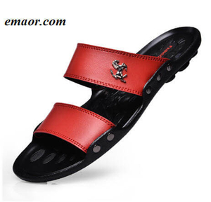 Mens Sandals Slippers Casual Famous Brand Summer Beach Outdoor Non-Slip Leather Mens Flip Flops