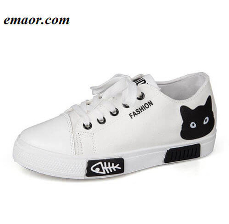 women canvas shoes casual new cartoon cat fashion summer