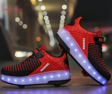Charging Spring Winter New Fly Led Children's Light-emitting Wheel Shoes Heelys Skating Pulley Shoes Two Wheels