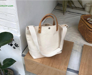 Canvas Totes Cheap Shopping Bags with Zipper Reusable Large Canvas Shopping Bags Foldable Shoulder Bags