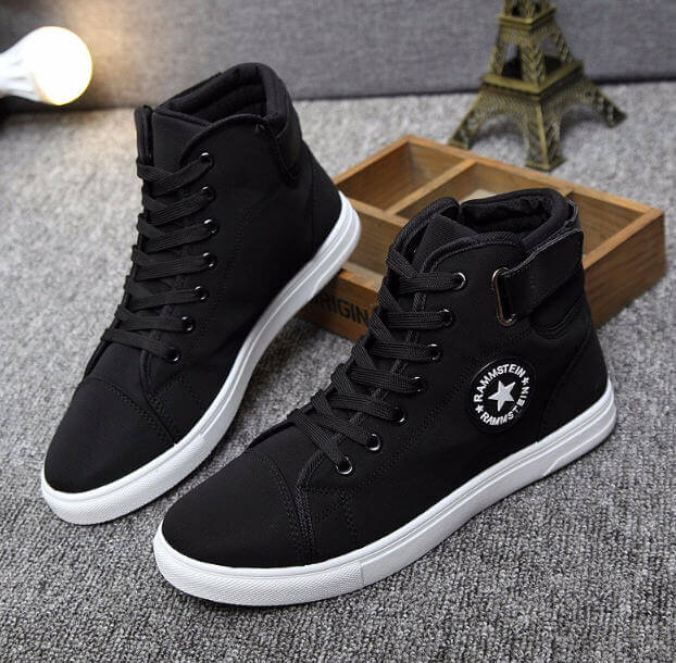 Men's Vulcanize Shoes 2019 News Men Spring Autumn Top Fashion Sneakers Lace-up High Style Solid Colors Man Casual Shoes
