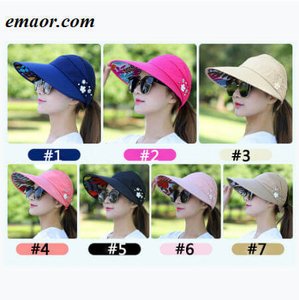 Sun Hats for Women Visors Fishing Fisher Beach Hats UV Protection Cap Black Casual Womens Summer Ponytail Wide Brim Hats