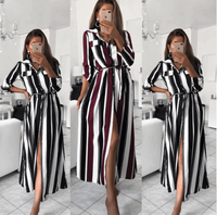 Shirt Dress for Girs High Quality Fashion Cotton Sexy Custom Color Stripe Print T Shirt Skirt