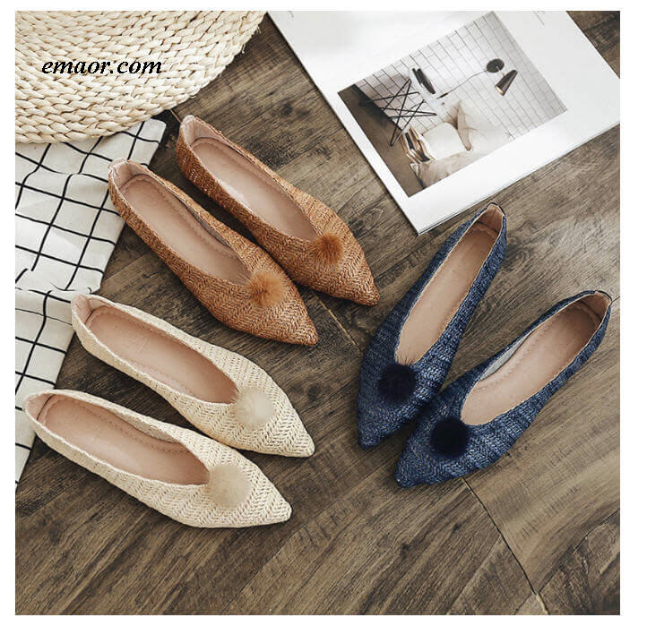 Flat Pedal Mtb Shoes Flat Bottom Women's Shoes Korean Ins Explosion Models Woven's Fur Ball Lazy Shoes Casual Wild Pointed Single Shoes Flat Pedal Mtb Shoes Flat Pedal Mtb Shoes