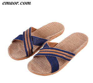 Best Sandals for Men Summer Fashion Slides Straw Shoes Breathable Rubber Flip Flops Cheap Mens Beach Sandals Sale Comfortable Flip Flops