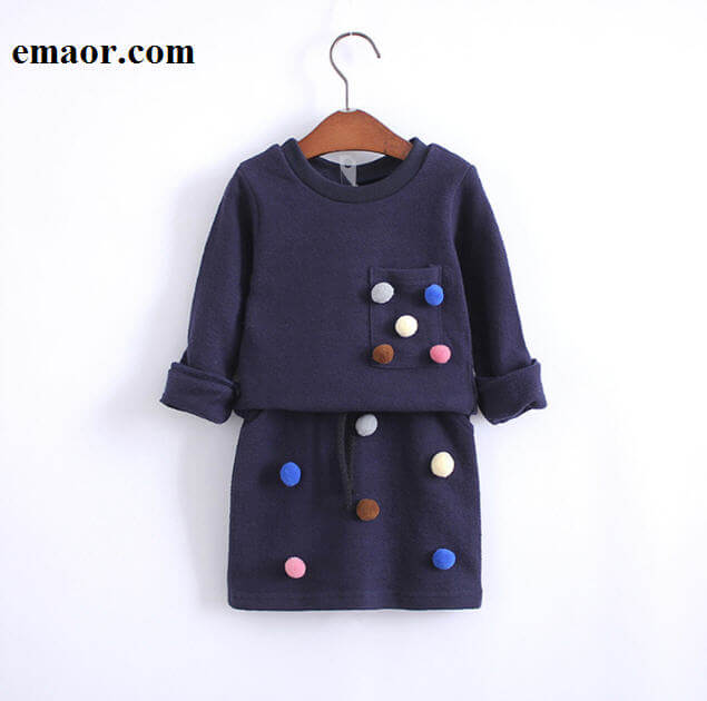Girls Clothes Set New Fashion Spring Cotton Litter Girl Cute Clothing Suit For Girl Long Sleeve Embroidery Owl&ball Sweatshirt + Skirt