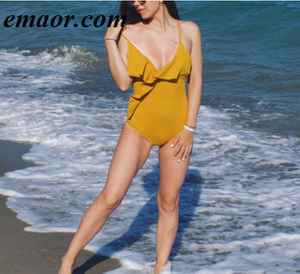 One-piece Swimsuits Yellow Solid Falbala V Neck Ruffle Sexy Monokini Ladies Beach Bathing Suits