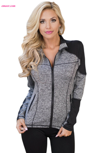 Charcoal Athletic Yoga Running Sport Jacket Athletic Outwear Yoga