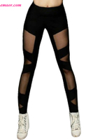 Black Sexy Cross Mesh Sports Leggings Yoga Leggings Wholesale