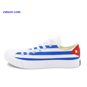 Men's Flag Shoes Colin Kaepernick Cuba Flag Hand Painted Blue White Stripes Shoes Women's Flag Shoes for Sale Casual Shoes American Flag Golf Shoes