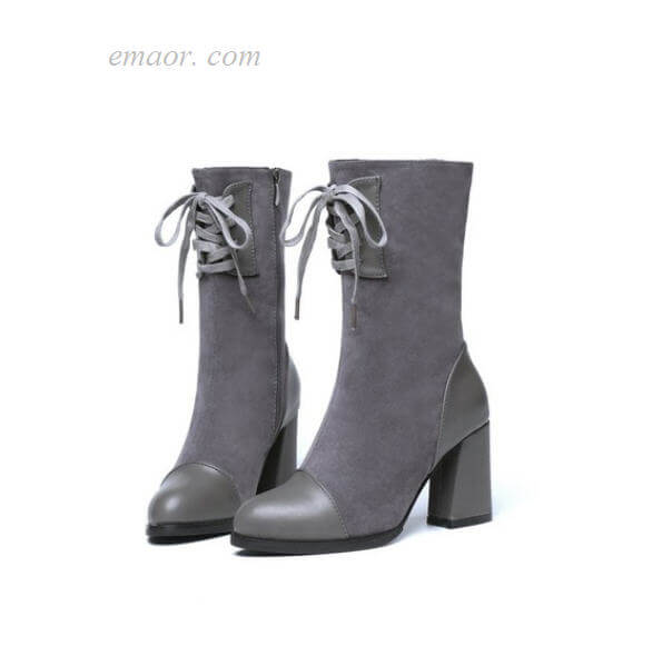 Plush Winter Boots Thick High Heels Shoes Woman Lace Up Cross-tied Ankle Boots Cheap Ankle Boots