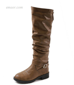 Women's Knee High Boots Round Toe Low Zip Women's Knee High Boots Michael Kors Boots