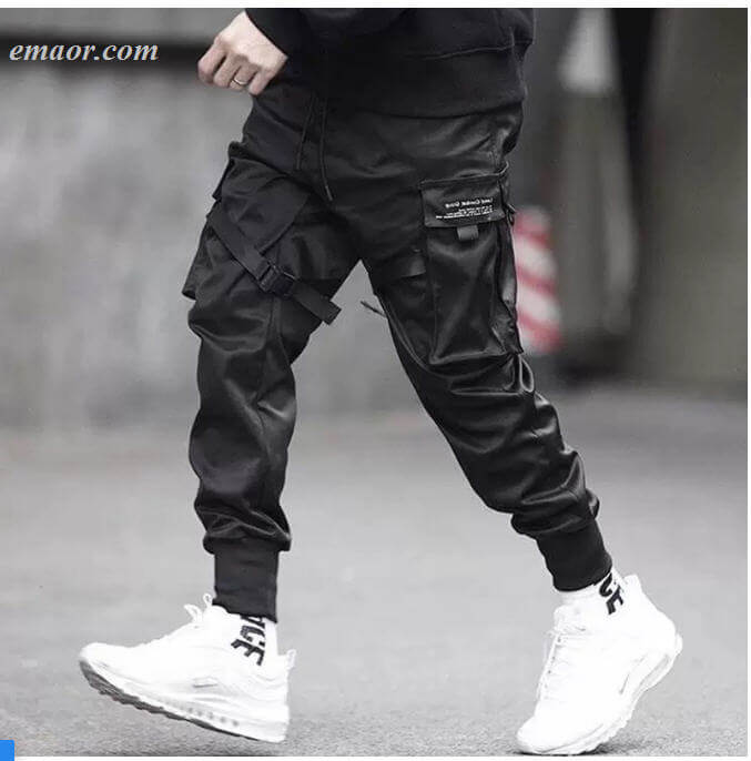 Men's Ribbons Color Block Black Pocket Cargo Pants Joggeousers on Sale